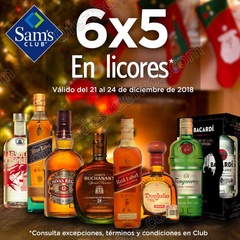 Sam's: 6×5 en Licores Buchanan's, Johnnie Walker, Don Julio y más