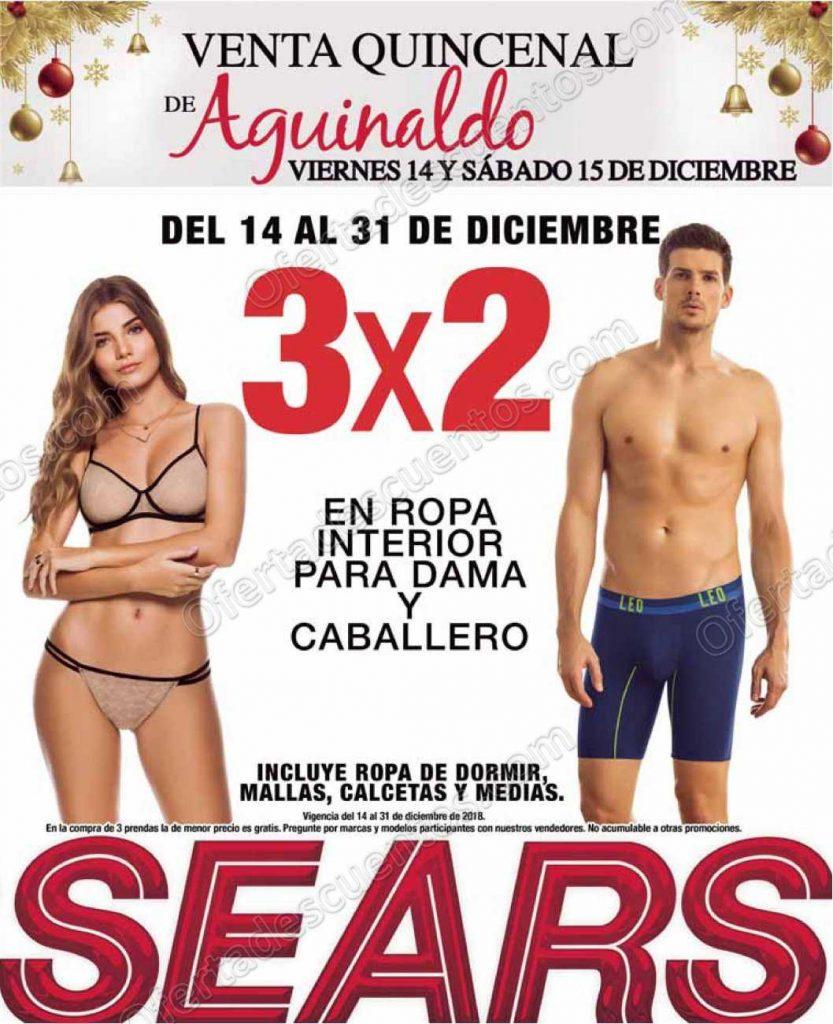 Sears: 3×2 en ropa interior para dama y caballero al 31 de Diciembre 2018