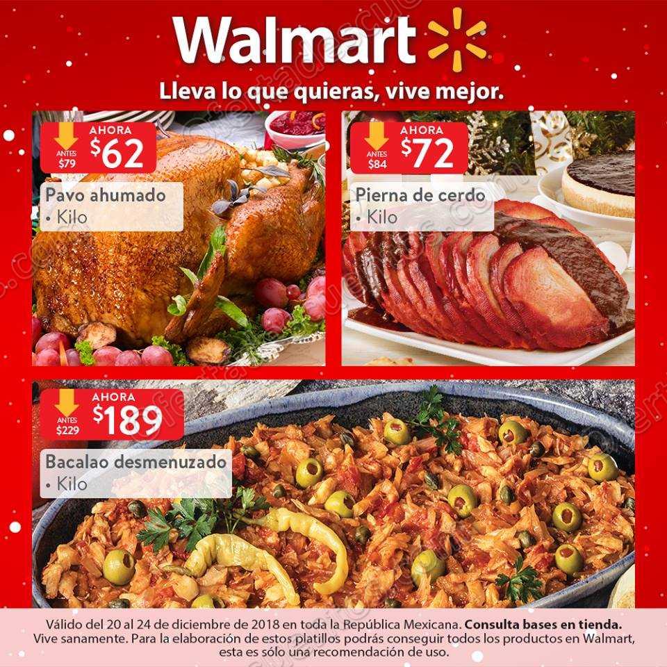 Walmart: Ofertas en carnes para cena de Navidad del 21 al 24 de Diciente 2018