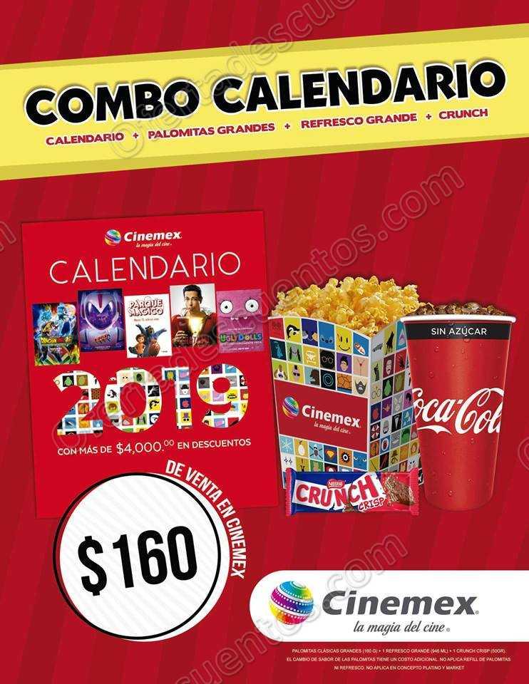 Combo Cinemex: Calendario+Palomitas Grandes+ Refresco Grande+Crunch por $160
