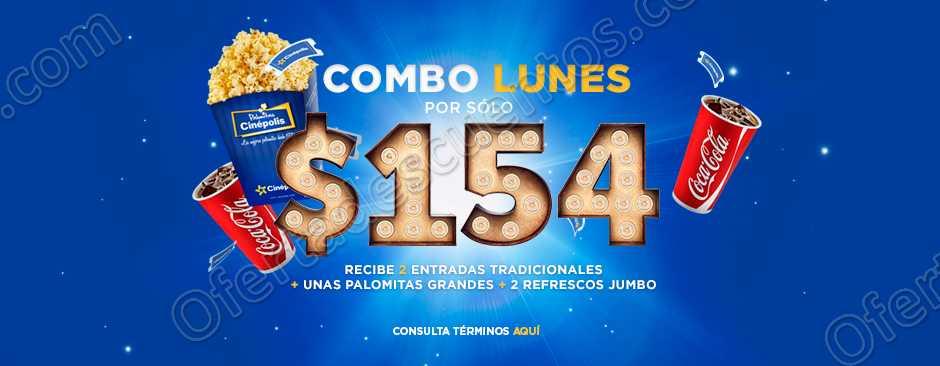 Combo Lunes Cinépolis: 2 Entradas + Refresco Jumbo + Palomitas Grandes por $154