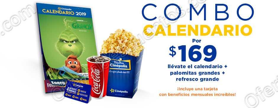 Combo Calendario Cinépolis: Palomitas + Refresco + Calendario por $169