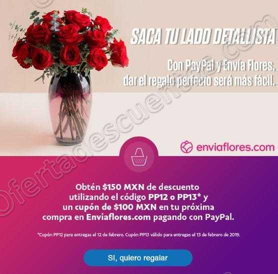 EnviaFlores: Cupón $150 de descuento + $100 Cashback pagando con PayPal por San Valentin
