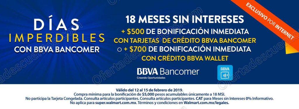 Walmart: Días Imperdibles Bancomer hasta $700 de Bonificación al 15 de Febrero 2019