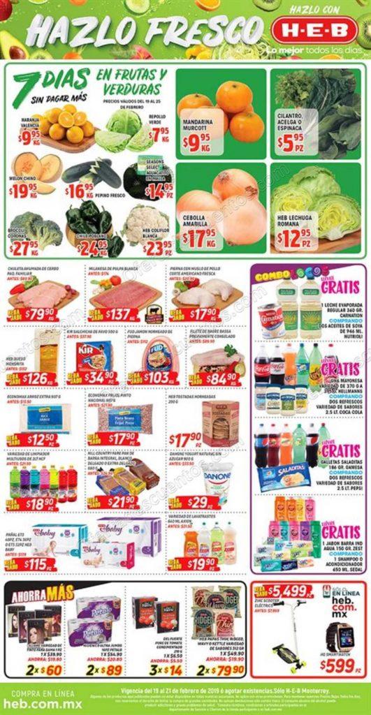 HEB: 7 Días de Frutas y Verduras del 19 al 25 de Febrero 2019