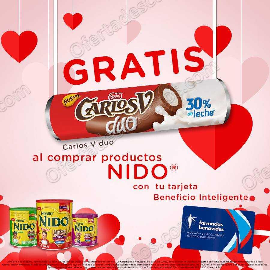 Farmacias Benavides: Gratis Chocolate Carlos V Duo al comprar productos Nido