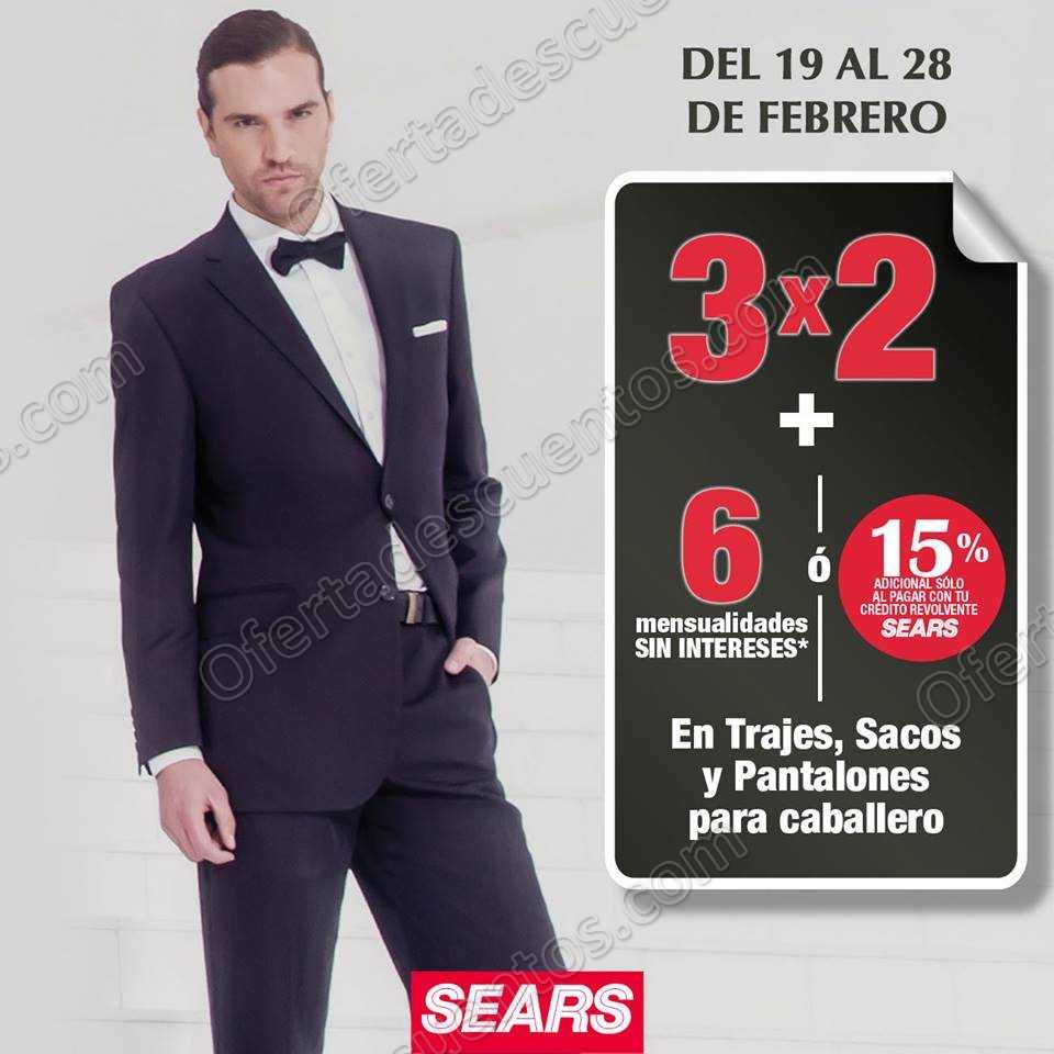 Sears: 3×2 en Trajes, Sacos y Pantalones para caballero al 28 de Febrero 2019