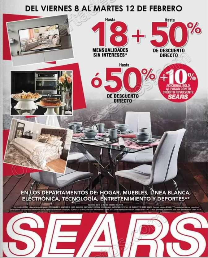 Sears: Hasta 50% de descuento en Muebles, Hogar, Tecnología, Línea Blanca y más al 12 de Febrero 2019