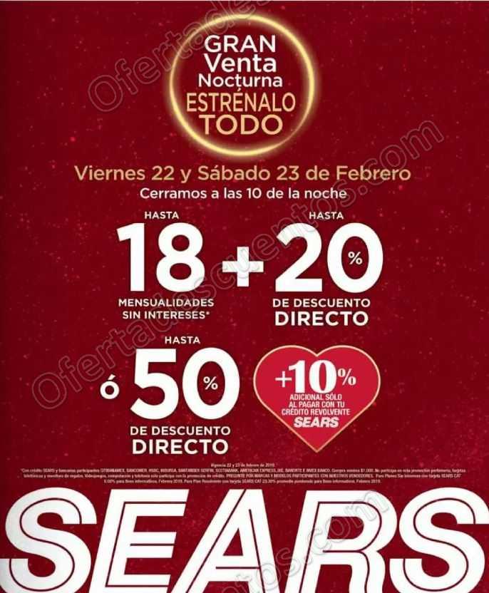 Gran Venta Nocturna Sears 22 y 23 de Febrero 2019