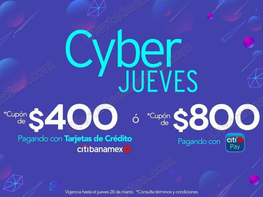 Cyber Jueves Elektra: Obtén hasta $800 en Cupones con Citibanamex solo 28 de Marzo 2019