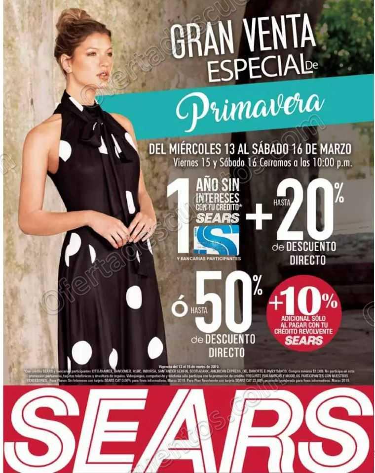 e0d053120 Venta Especial de Primavera Sears del 13 al 16 de Marzo 2019