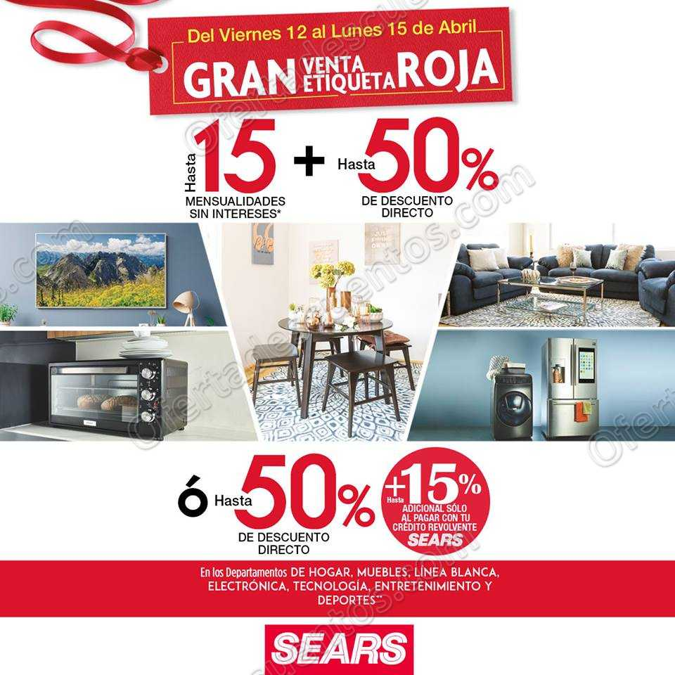 Venta Especial de Etiqueta Roja Sears del 12 al 15 de Abril 2019