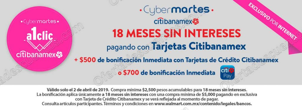 Walmart: Cyber Martes con Citibanamex hasta $700 de bonificación inmediata