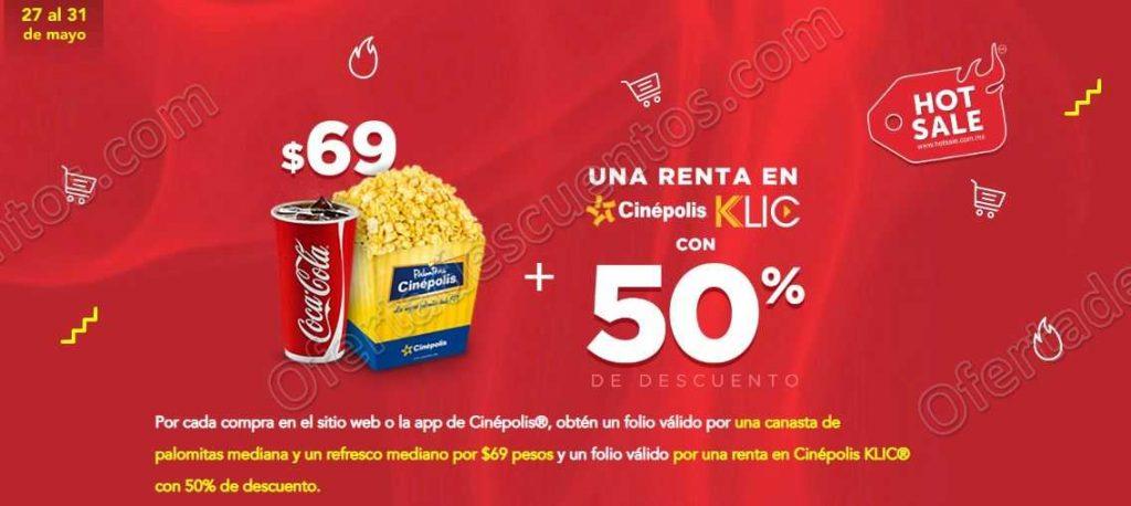 Hot Sale 2019 Cinépolis: Combo palomitas y refresco por $69