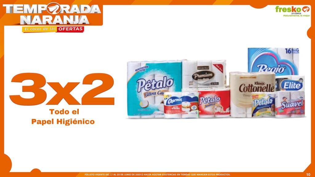 Oferta Estelar Temporada Naranja 2019 La Comer: 3×2 en Papel Higiénico