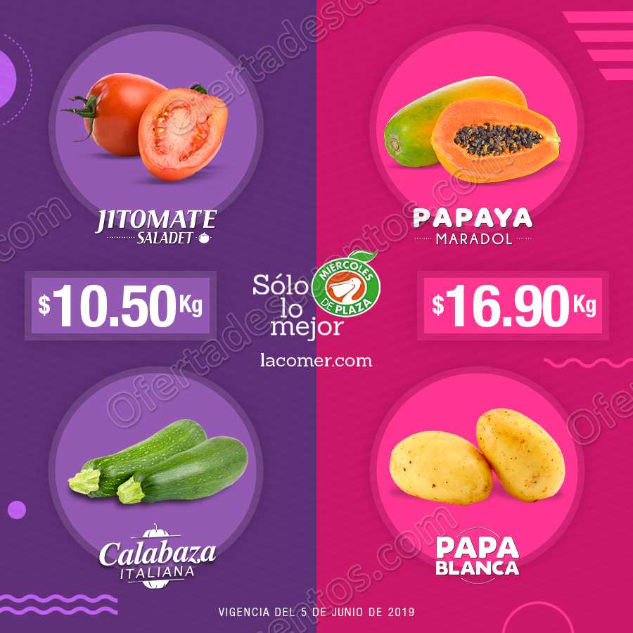 La Comer: Ofertas Frutas y Verduras Miércoles de Plaza 5 de Junio 2019
