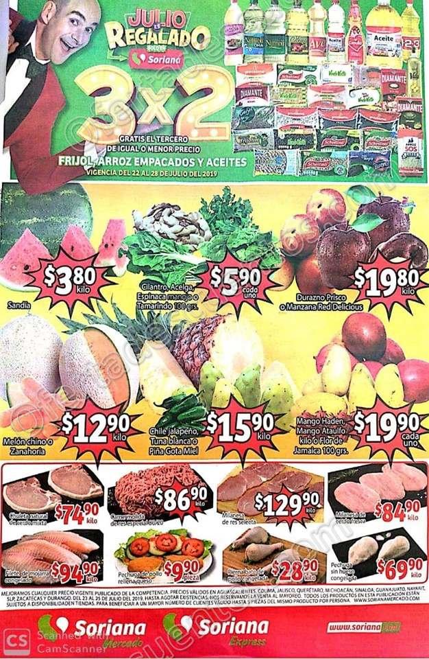 Soriana Mercado: Ofertas Frutas y Verduras 23 y 24 de Julio 2019