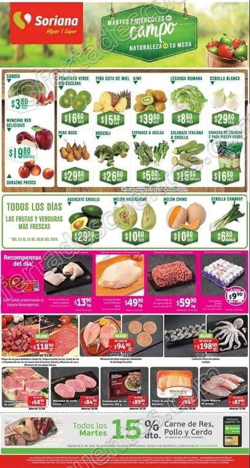 Soriana: Ofertas Frutas y Verduras 6 y 7 de Agosto 2019