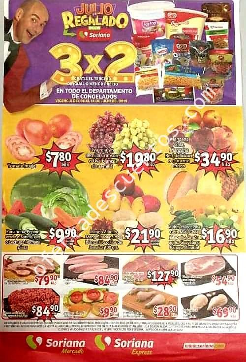Soriana Mercado: Frutas y Verduras del 9 al 11 de Julio 2019