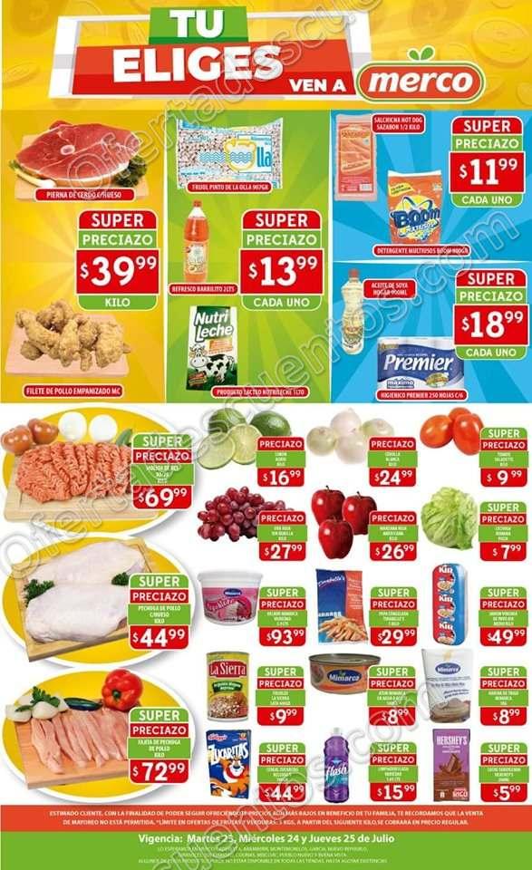 Merco: Ofertas en Frutas y Verduras del 23 al 25 de Julio 2019