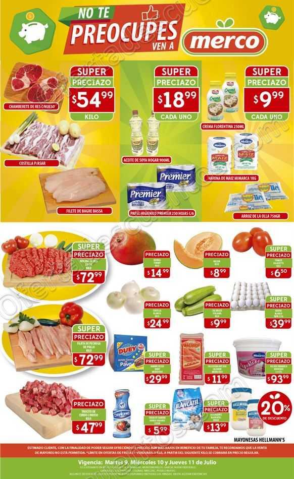 Merco: Preciazos en Carnes, Frutas y Verduras del 9 al 11 de Julio 2019