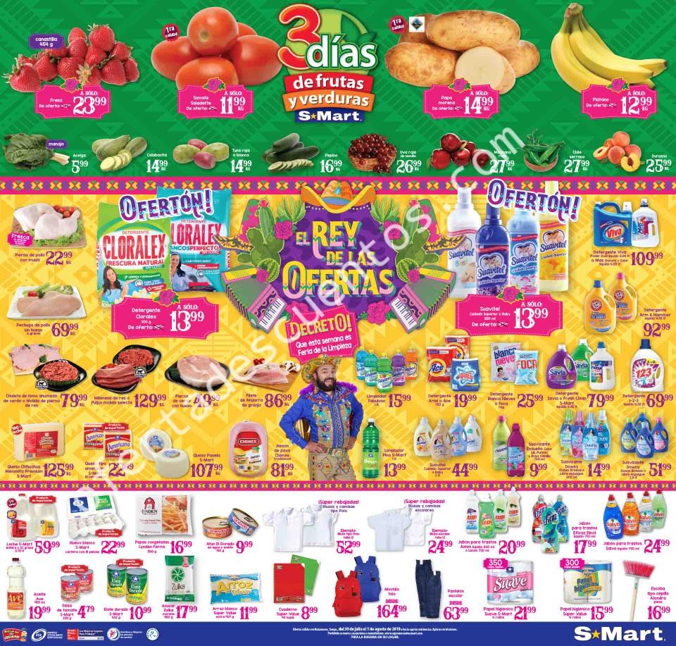 S-Mart: Ofertas en Frutas y Verduras del 30 de Julio al 1 de Agosto 2019
