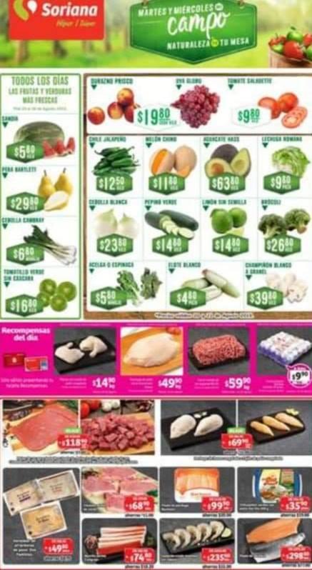Soriana: Ofertas en Frutas y Verduras Martes y Miércoles del Campo 20 y 21 de Agosto 2019