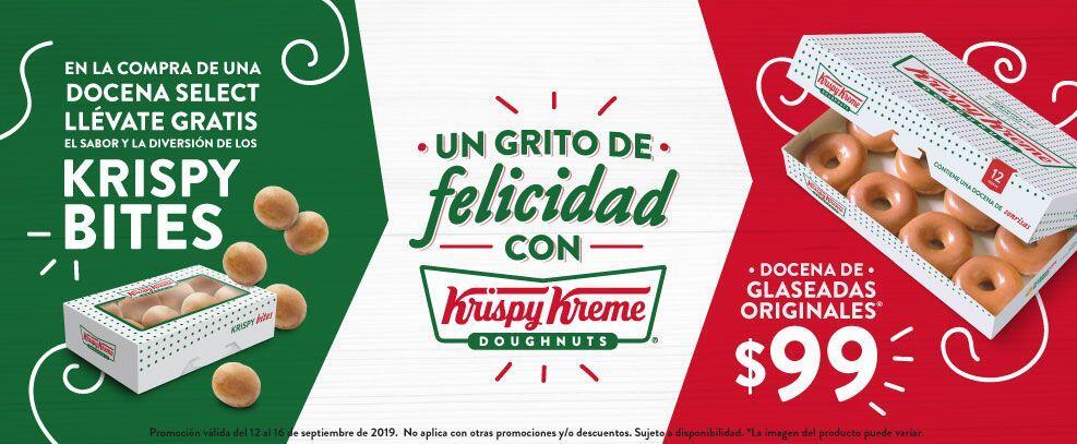 Krispy Kreme: Docena Glaseadas Originales a $99 y GRATIS Krispy Bites en la compra de Docena Select al 16 de Septiembre
