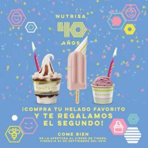 Nutrisa: Promoción 40 Aniversario 2×1 en todos los Helados 23 de Septiembre 2019