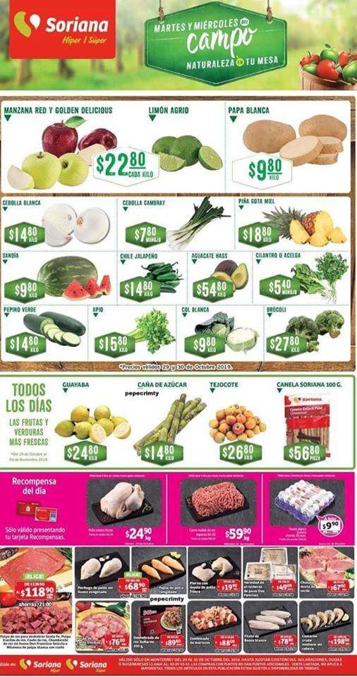 Soriana: Ofertas Frutas y Verduras Martes y Miércoles del Campo 29 y 30 de Octubre 2019