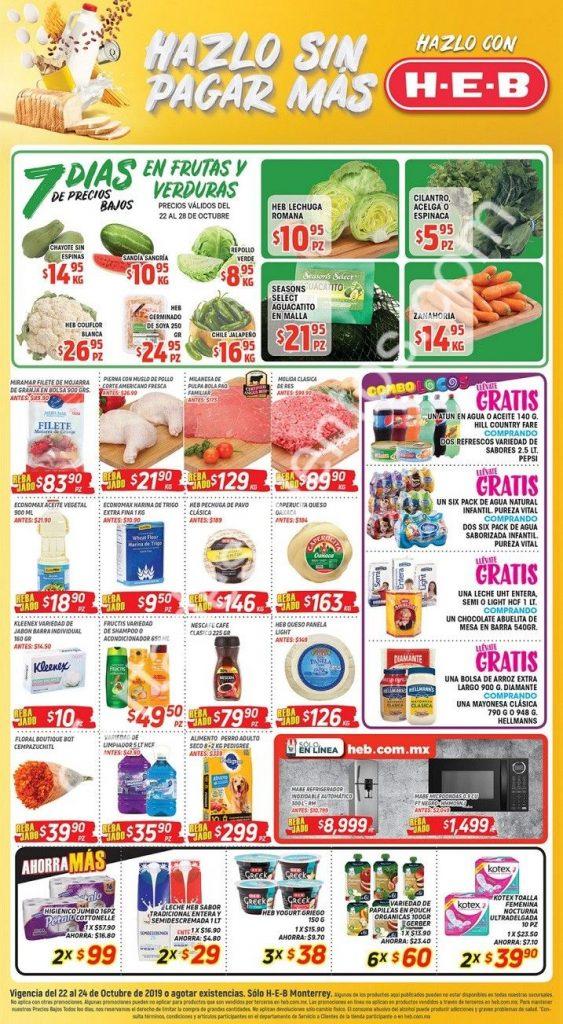 HEB: 7 Días de ofertas en frutas y verduras del 22 al 28 de Octubre 2019