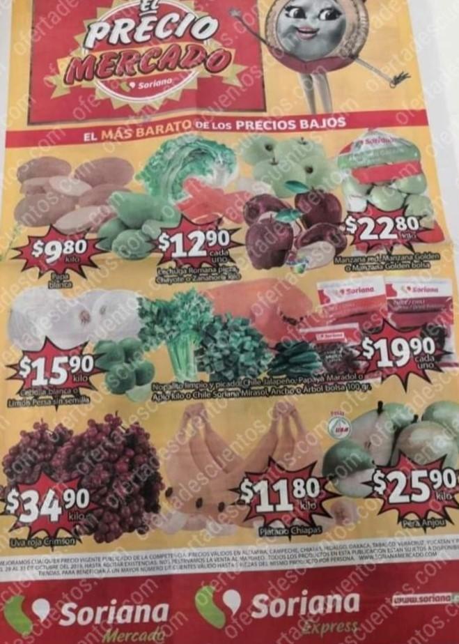 Soriana Mercado: Ofertas Frutas y Verduras del 29 al 31 de Octubre 2019