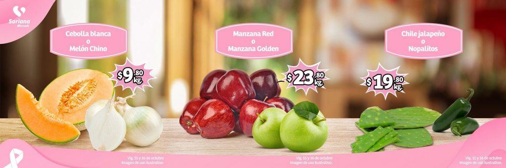 Soriana Mercado y Express: Ofertas en Frutas y Verduras 15 y 16 de Octubre 2019