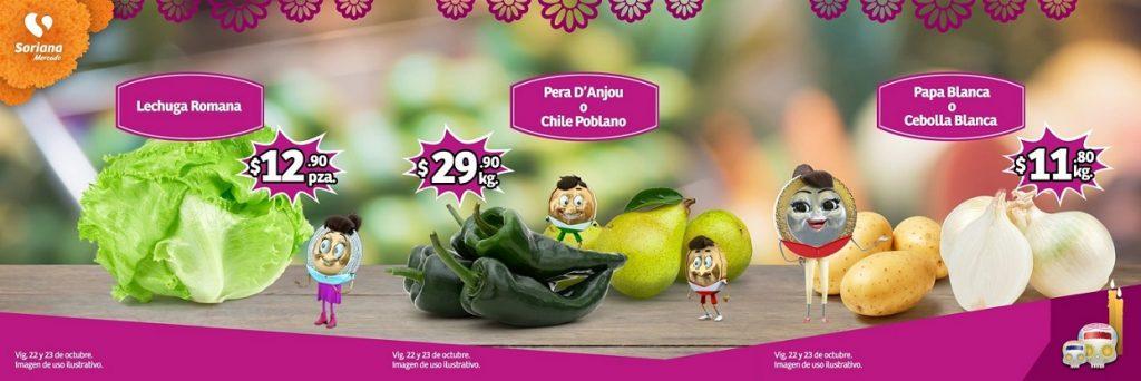 Soriana Mercado y Express: Ofertas Frutas y Verduras 22 y 23 de Octubre 2019