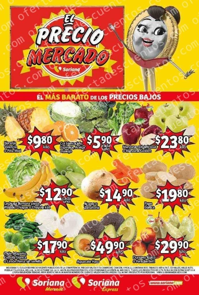 Soriana Mercado: Ofertas en Frutas y Verduras del 8 al 10 de Octubre 2019