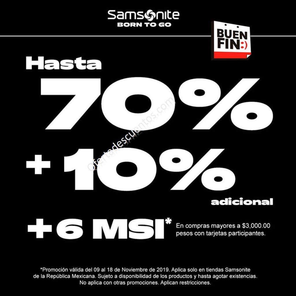 Promociones El Buen Fin 2019 Samsonite: Hasta 70% de Descuento