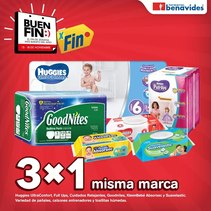 El Buen Fin 2019 Farmacias Buenavides 3×1 en Pañales