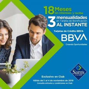 Sams Club: 18 meses sin Intereses más 3 de Bonificación al instante con BBVA Bancomer