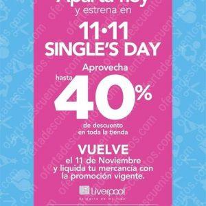 Single's Days Liverpool 11 de Noviembre 2019: Hasta 40% de Descuento