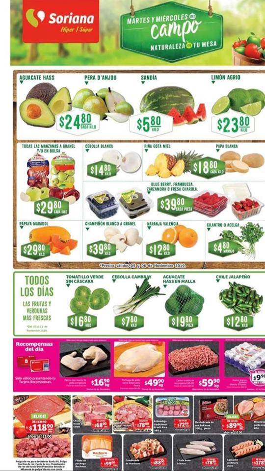 Soriana: Ofertas Frutas y Verduras Martes y Miércoles del Campo 5 y 6 de Noviembre 2019