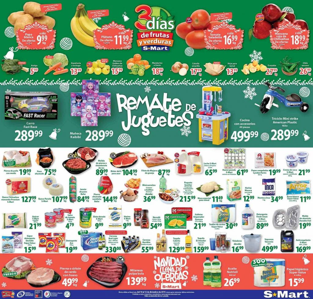 S-Mart: Ofertas Frutas y Verduras del 10 al 12 de Diciembre 2019
