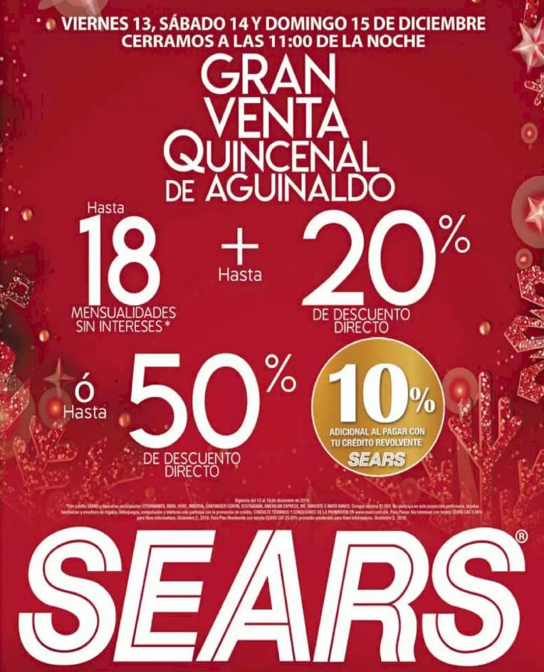 Gran Venta de Aguinaldo Sears del 13 al 15 de Diciembre 2019