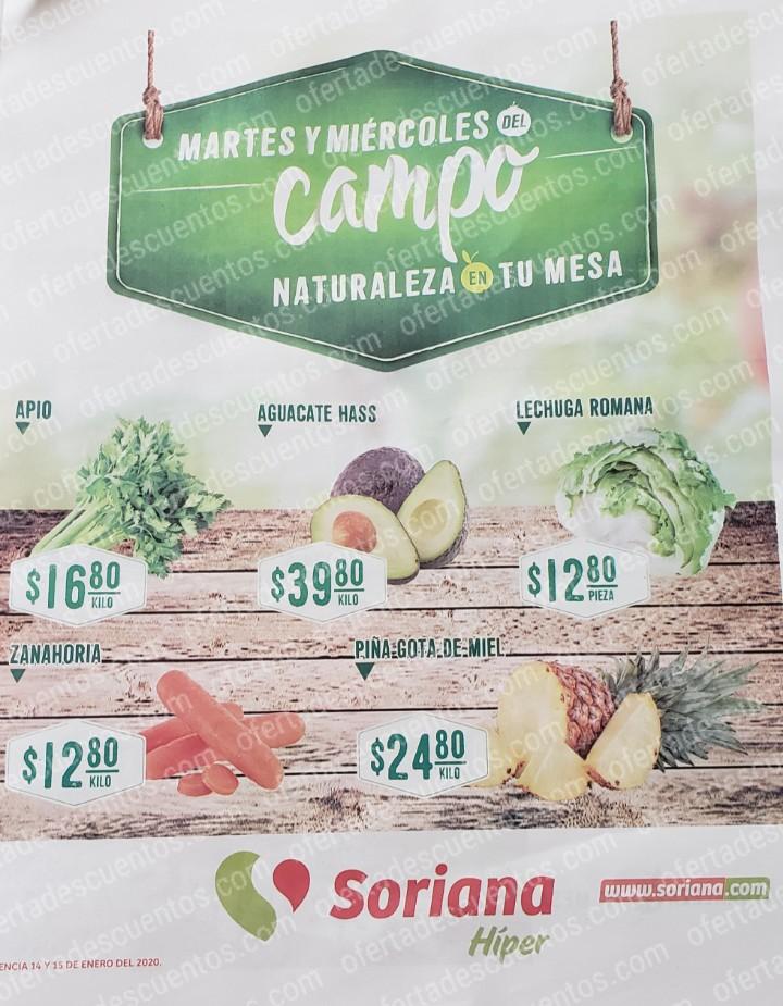 Soriana: Ofertas Frutas y Verduras Martes y Miércoles del Campo 14 y 15 de Enero 2020