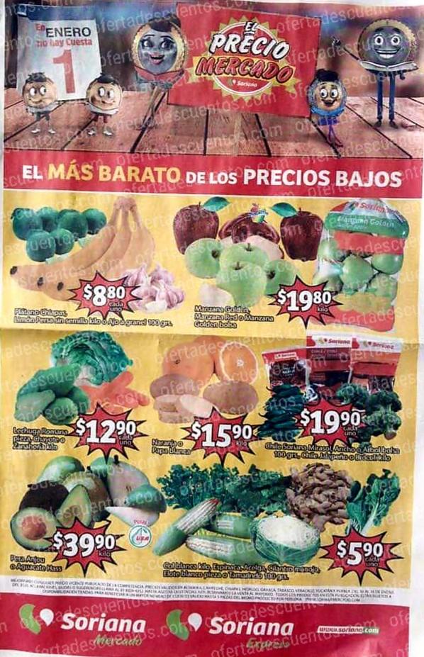 Soriana Mercado: Ofertas Frutas y Verduras del 14 al 16 de Enero 2020