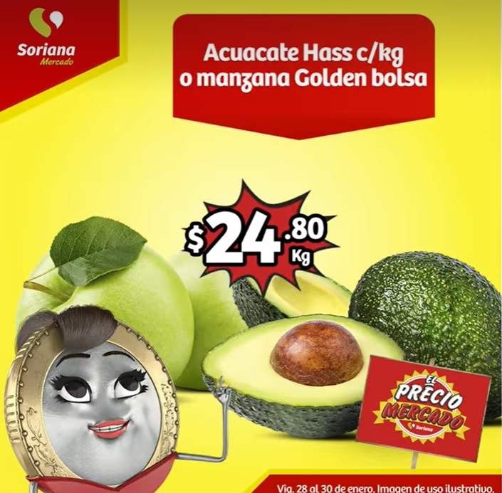 Soriana Mercado: Ofertas en Frutas y Verduras del 28 al 30 de Enero 2020