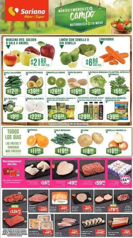 Soriana: Frutas y Verduras Martes y Miércoles del Campo 21 y 22 de Enero 2020