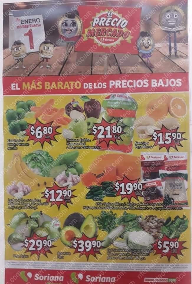 Soriana Mercado: Ofertas Frutas y Verduras del 21 al 23 de Enero 2020