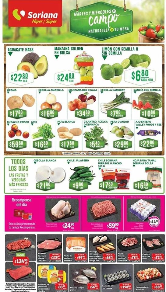 Soriana: Ofertas en Frutas y Verduras Martes y Miércoles del Campo 28 y 29 de Enero 2020