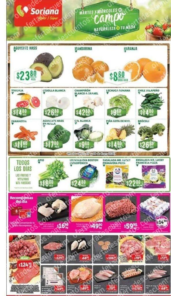 Soriana: Ofertas Frutas y Verduras Martes y Miércoles del Campo 7 y 8 de Enero 2020
