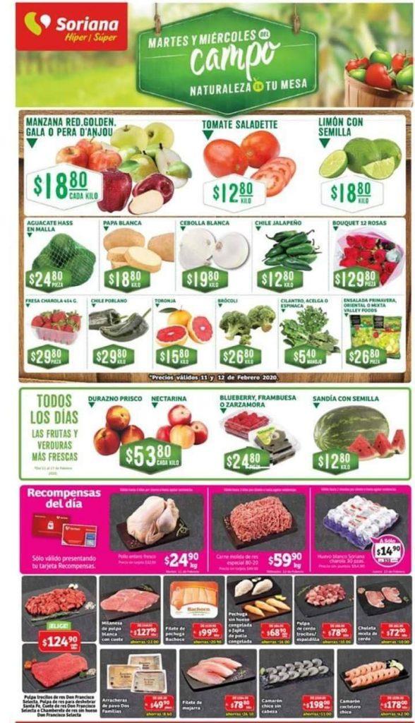 Soriana: Ofertas Frutas y Verduras Martes y Miércoles del Campo 11 y 12 de Febrero 2020